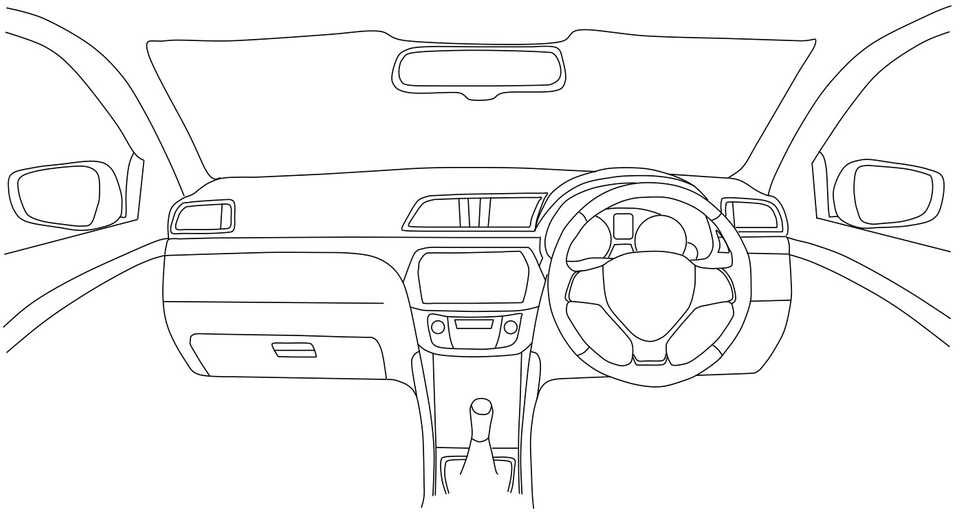 Line drawing of a car interior