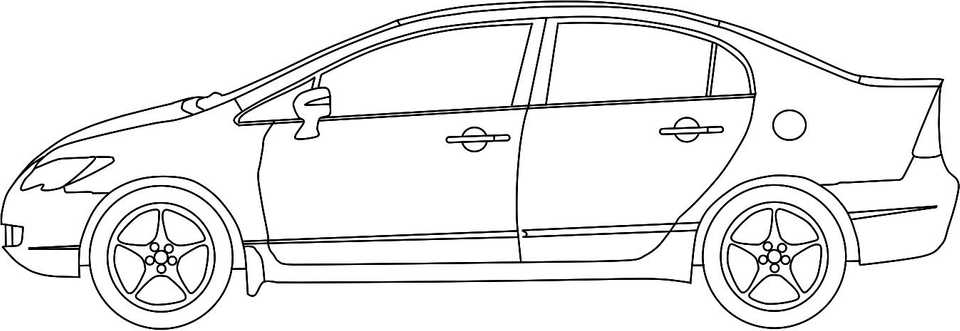 Line drawing of a modern Japanese compact car
