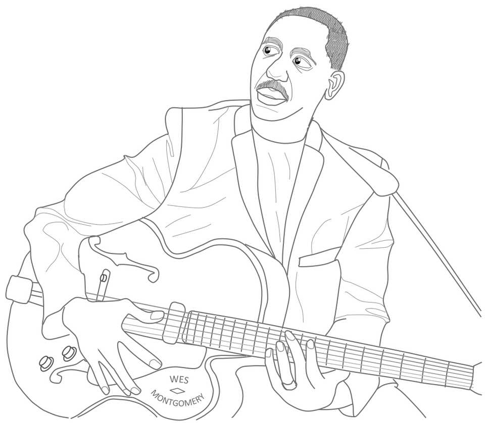 Line drawing of Wes Montgomery