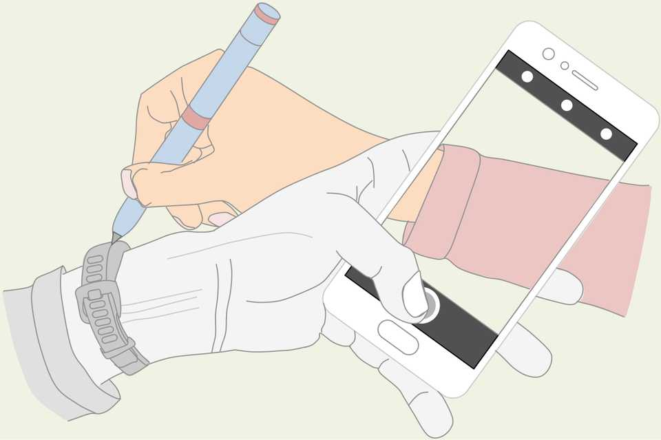 Line drawing of the right hand drawing the left hand holding a phone taking a picture of the right hand