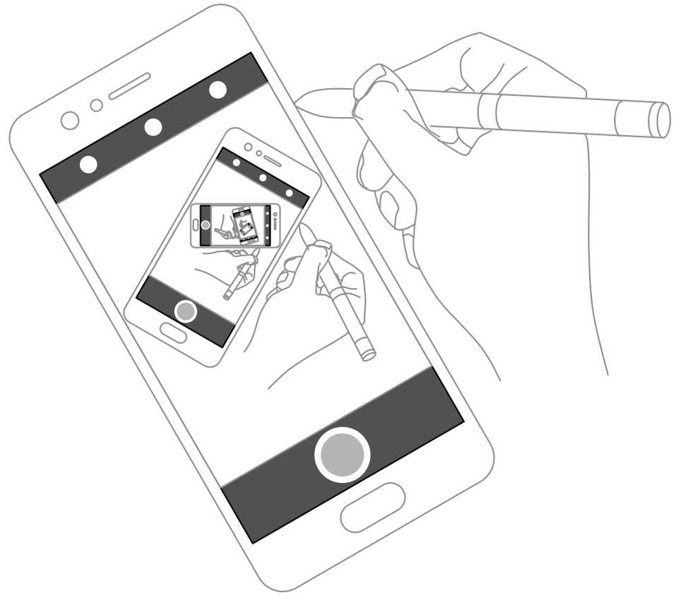 Line drawing of a hand drawing a phone taking a picture of a hand drawing a phone taking a picture…