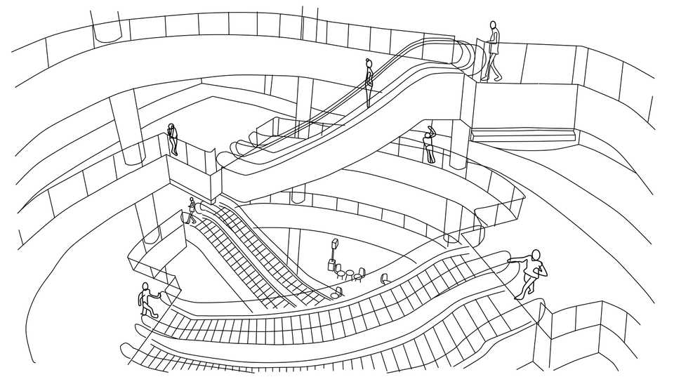 Line drawing of Escalators in a Mall