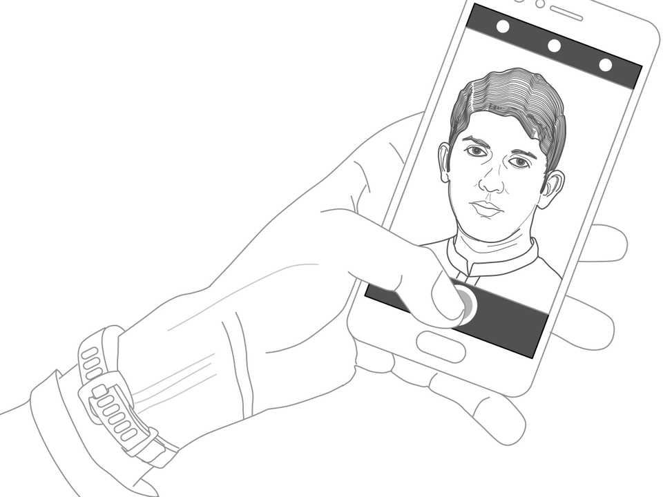 Line drawing of a hand taking a selfie