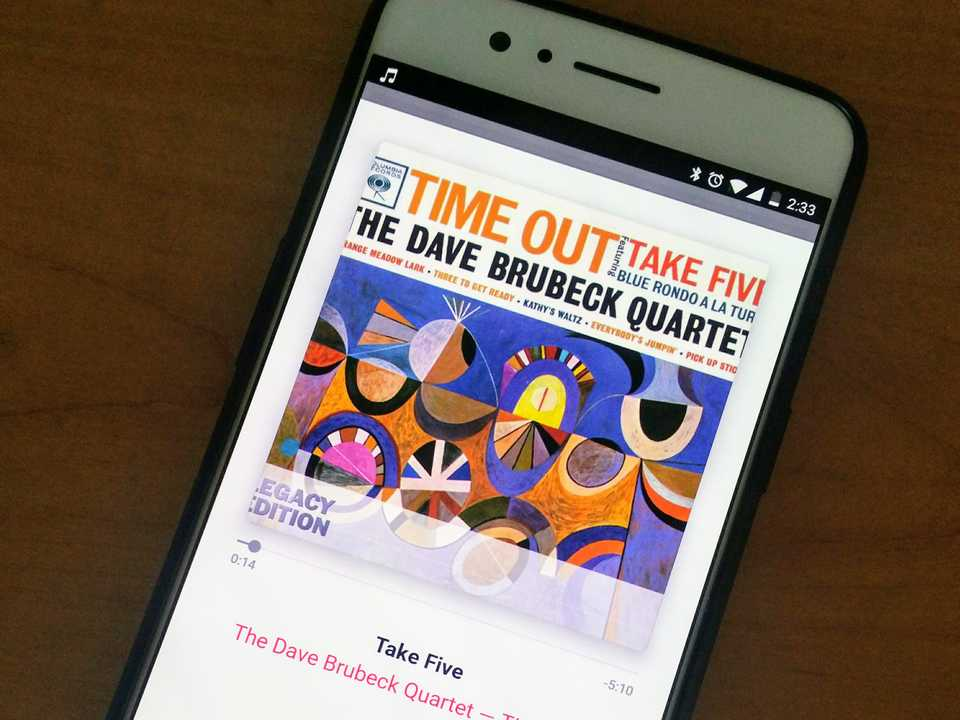 Smartphone showing Take Five playing