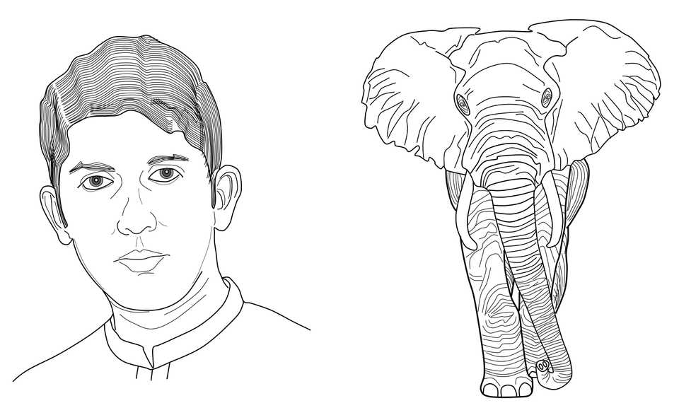 Line drawing of a self-portrait and an African elephant