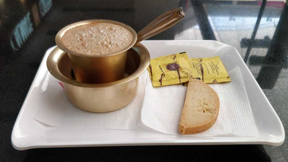South Indian filter coffee and an Italian almond biscotti