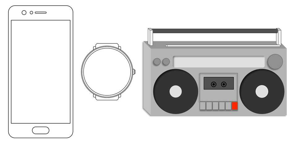 Line drawing of a phone, a watch and an 80's stereo