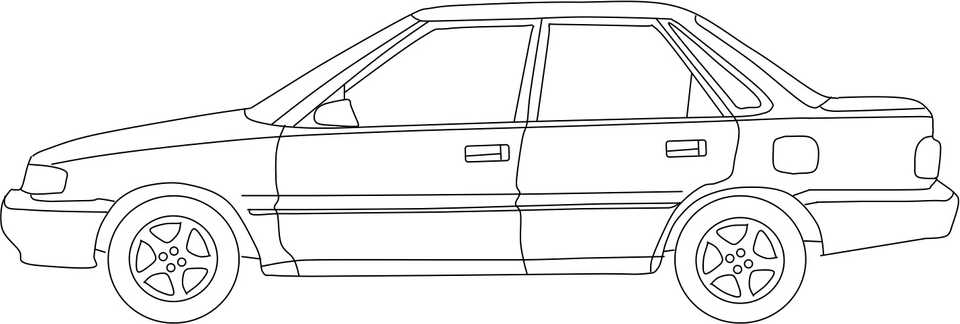 Line drawing of a late 80s Japanese compact car