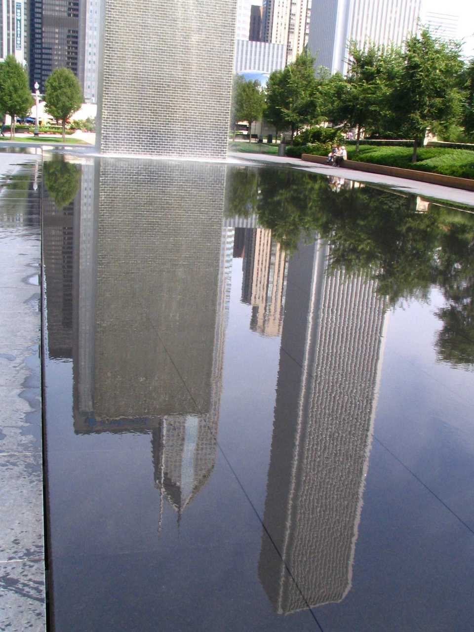Reflection of skyscrapers in water